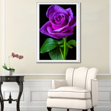 2017 DIY 5D diamond paintings, purple roses, round diamonds, cross stitch kits, diamond gifts, mosaics, home decor, embroidery
