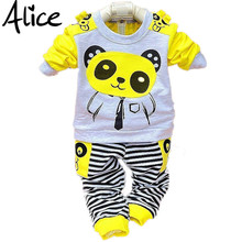 Girls and boys suit baby panda cartoon casual long-sleeved striped t-shirt + pants 2pcs / set Kids Set Free Shipping(China)