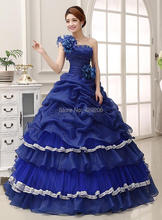 Luxury Vintage Classical One Shoulder Tiered Handmade Flowers Sleeveless Cascading Ruffles Ball Gown Quinceanera Dresses
