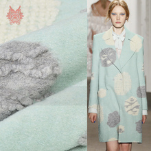 American style light blue camel with cartoon jacquard cashmere wool fabric for coat dress winter woolen coat SP3855 Free ship(China)
