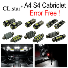 19pcs LED License plate bulb + interior dome map light full kit for Audi A4 S4 Convertible Cabriolet Cabrio (2002-2009)