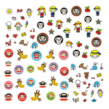 3pcs/lot  Cartoon Children DIY Small Water Transfer Foils Nail Art Sticker Nails Monkey Cat Elephant Flower Decal Minx Nail Tool