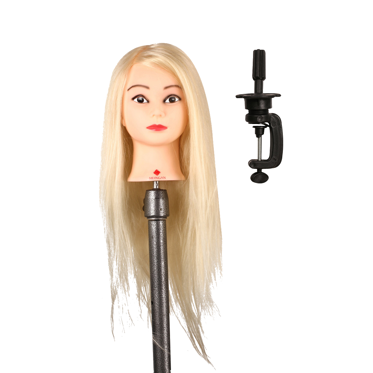 Professional 50% Natural animal hair 22 long Mannequin Hairdressing Styling Training Head Mannequin Head with clamp stand<br>