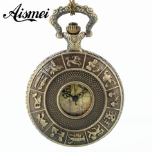 Free Shopping Pocket watch wholesale antique fashion High Quality retro alloy constellation pocket watch(China)