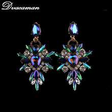 Dvacaman Facebook Fashion Crystal Starburst Earrings Women Indian Wedding Bridal Statement Earrings Popular Jewelry 9660(China)