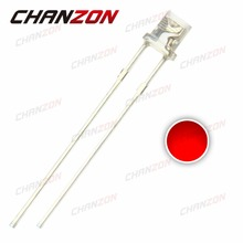 CHANZON 100pcs 3mm Red LED Flat Top Light Emitting Diode Lamp Transparent 620-625nm 3 mm Clear Lens 20mA 2V Wide Angle DIY PCB(China)