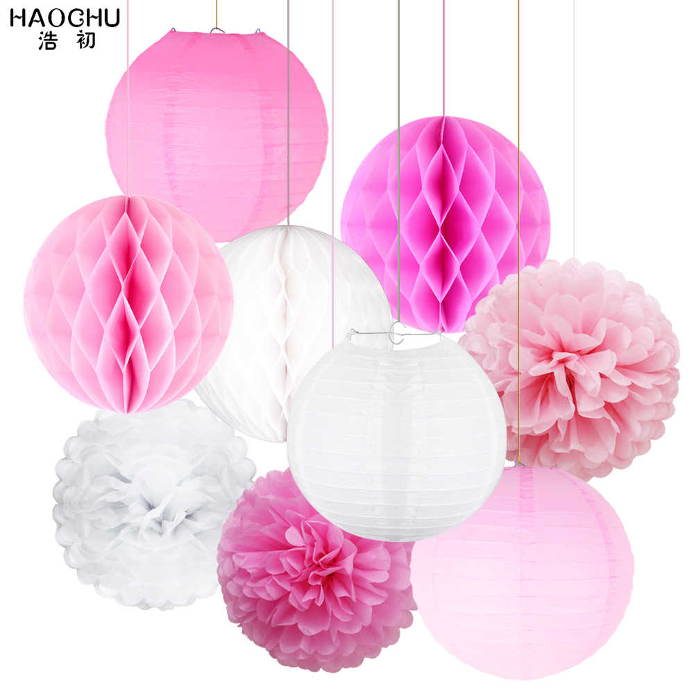 9Pcs/Set Paper Flower Poms Paper Honeycomb Balls Paper Lanterns Hanging Decor Birthday Party Wedding Birthday Home Decoration