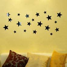 1set/20pcs Black/Gold/Silver Stars Mirror Acrylic Wall Sticker DIY Removable Wall Decals Home Room Decor For Bedroom Living Room(China)