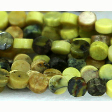 Discount Wholesale Natural Genuine Yellow Turquoise Flat Small Coin Beads Disc Loose Beads 4mm Fit Jewelry DIY Necklace 03184(China)