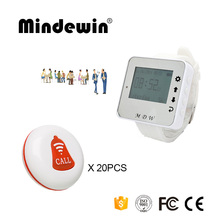 Mindewin 433mhz Waiter Calling System 1PCS Watch Pager M-W-1 and 20PCS Table Call Buttons M-K-1 Service Pagers For Reataurant(China)