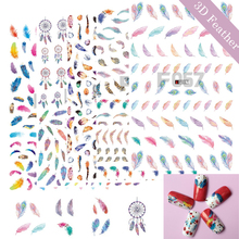 1 Sheets 10 Designs Feather/Dream Catcher Colorful Summer Nail Sticker 3D Charm Nail Art Tips Decals Adhesive Tattoo TRF049-058(China)