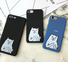 NEW Fashion 3D Cute cartoon ripndipp Pocket Cat Middle Finger white corna cat Hard PC case For iphone 7/7PLUS/5G/5s/SE/6/6s plus