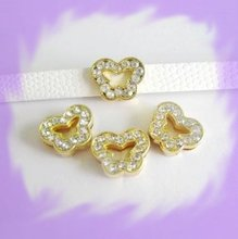 50pcs Fit Pet Dog Cat Tag Collar Wristband 8mm Gold Color Butterfly Slide Charms Fit Pet Dog Cat Tag Collar Wristband