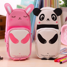 1Pc rabbit Newest Fashion Design Cute panda pencil bags Students cortex large capacity pencil case papelaria Stationery bags