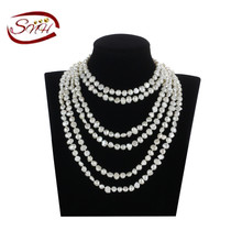 SNH 7-8mm 100 inch nugget shape fresh water pearl necklace
