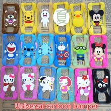 Universal 3D Cartoon Stitch Minnie kitty Silicone Frame Bumper Phone Case For iphone 4 5S 6S 7 Plus Cover For Sumsung For xiaomi