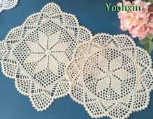 New Handmade cotton placemat drink cup coaster pot mug holder kitchen glass table place mat cloth lace Crochet doily dining pad(China)