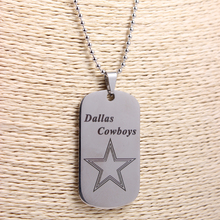Stainless Steel Necklaces Dallas Cowboys Team Logo Sided Dog Tag Pendants With Bead Chain Necklace