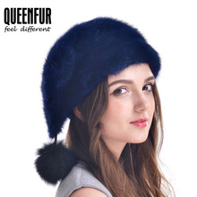 Winter Women Fur Hats Real Mink Fur Cap Fashion Good Quality Natural Mink Fur Hat With Fur Pom Poms Female Christmas Beanies