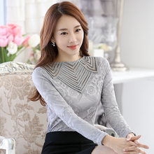 Buy 2016 Autumn Women lace Tops Blusa long-sleeved Patchwork Mesh Sexy Slim Hollow Chiffon blouse Lace shirt female 349J 25 for $10.58 in AliExpress store
