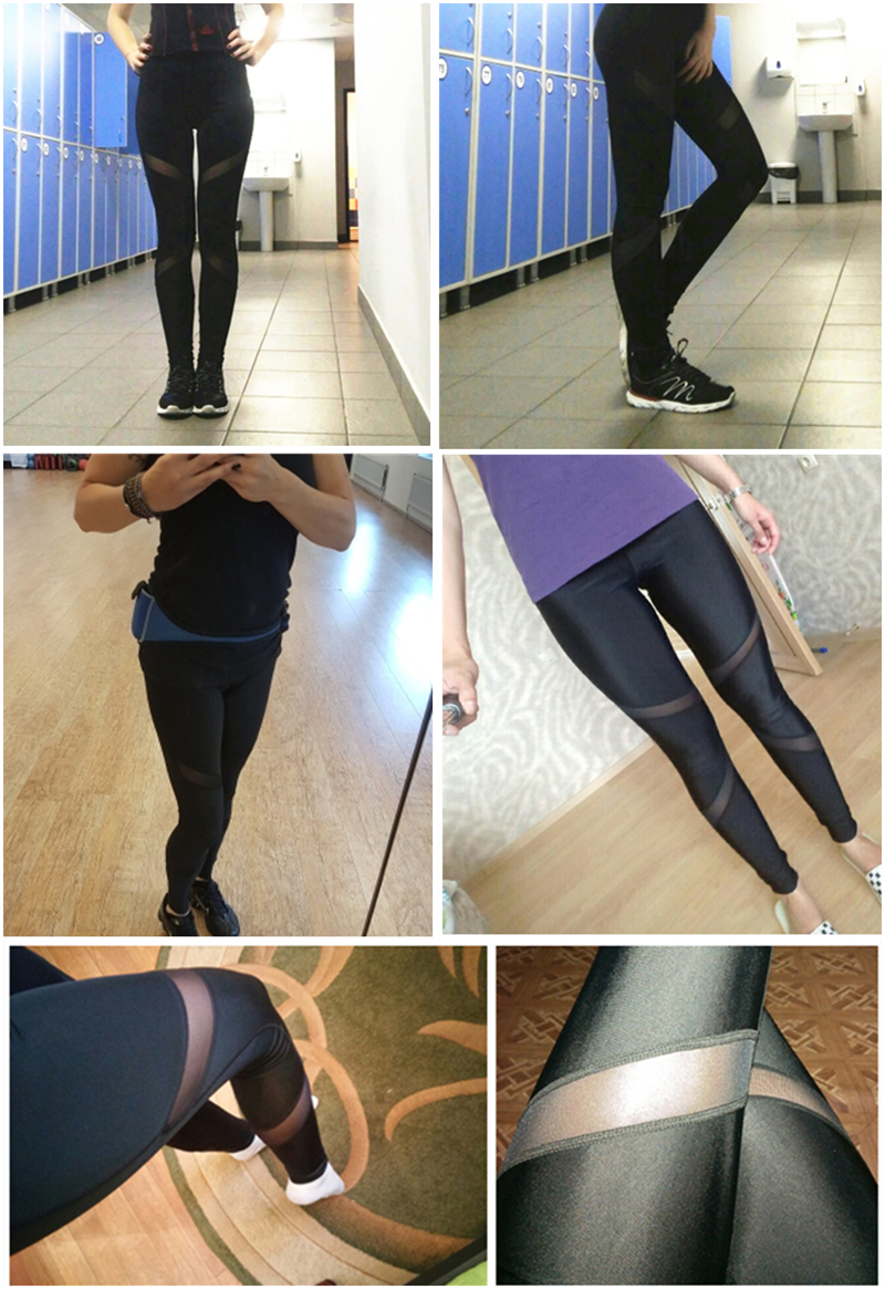 CHRLEISURE Sexy Women Leggings Gothic Insert Mesh Design Trousers Pants Big Size Black Capris Sportswear New Fitness Leggings 2