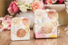 Flower favor box bomboniere for wedding party, marriage engagement candy sweets dragee boxes chocolate gift packaging,50PCS