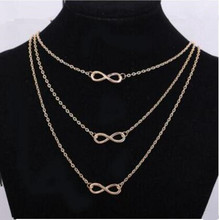 na862 Gothic punk exquisite multi-layer necklace clavicle combination fashion Geometric number 8 necklace jewelry accesories(China)