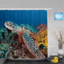 Sea Turtle And Sea Fan Bathroom Shower Curtain Leisure Sea Lifetime Shower Curtains Waterproof Mildew Polyester Fabric With Hook