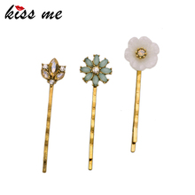 KISS ME Brand Alloy Crystal Flowers Hair Jewelry Accessories New Hot Sale Women Barrettes Hairpins 3PCS/Set(China)