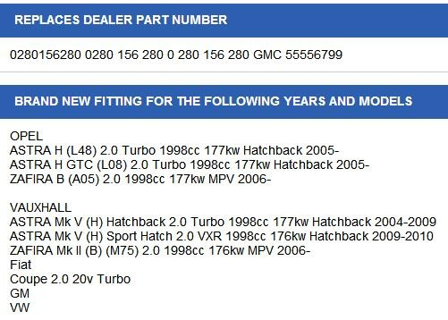Inyector de combustible Gasolina Genuino Opel Vauxhall Astra H Zafira B 2.0 Turbo 0280156280