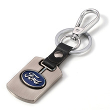 Silver Car Logo Keychain Keyring Metal Alloy Fine Wire Drawing For Ford Car Styling Key Holder