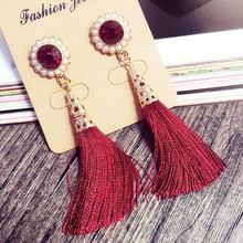 2016 long red tassel Earring Simulated pearl flower earrings for women Long Tassel Earrings Rhinestone  pearl Fringe Earrings