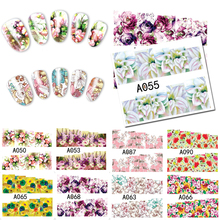 48 designs Mixed 2017 New Nail Sticker Water Transfer Flowers DIY Tips Beauty Manicure Nail Art Decorations Sets SKUA049-096(China)