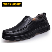 ZANVLLCHY Mens Genuine Leather Comfortable Walking Shoes Slip On Outdoor Athletic Shoes Men Sport Shoes Climbing Trekking Boots