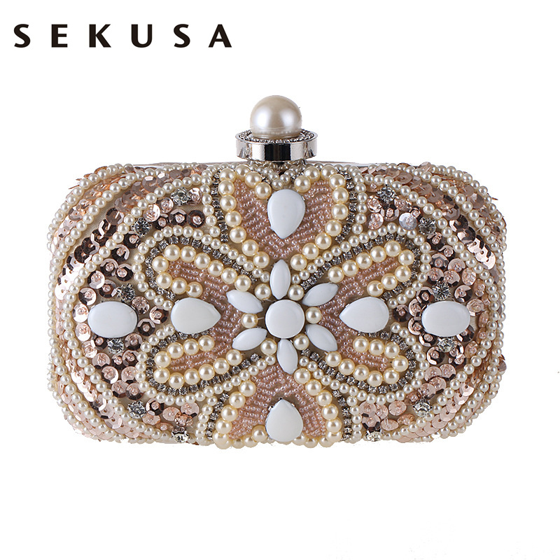 SEKUSA Christmas Gift Beaded Heart Evening  Bag Embroidery Vintage Style Diamonds Purse Handbags Chain Shoulder Clutch Bag<br>