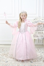 Girls Pretty Summer Dress Halloween Cosplay Costumes Princess Cinderella Aurora Cosplay Dress Birthday Party Lace Dress  4-10Y