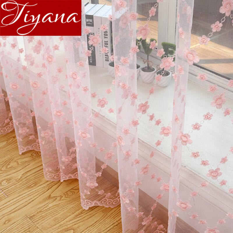 Window Treatments Screening Sheer American Embroidery Luxury Flowers Lace Curtains For Living Room Bedroom Pink Cortinas X351#30