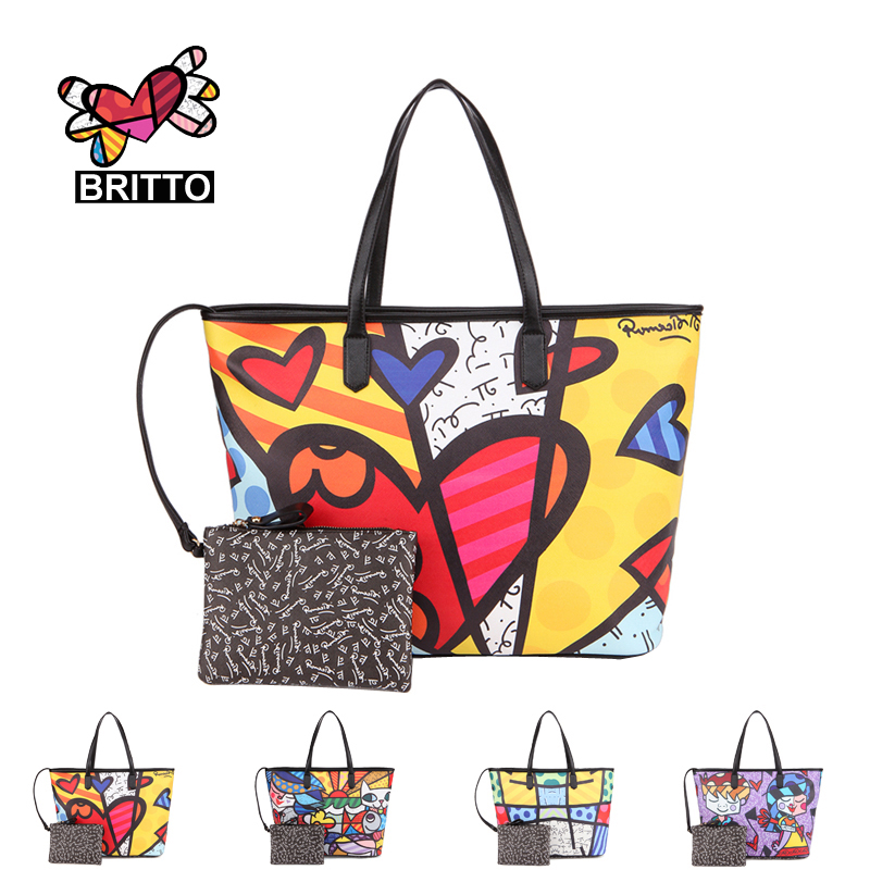 ROMERO BRITTO New Fashion Handbags 2017  Ladies Messenger Large Capacity Minimalist Shoulder Bag Printing Graffiti Many  Style<br><br>Aliexpress