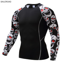 2017 Fitness MMA Compression Shirt Men Rashguard Male Long Sleeve T Shirt Crossfit Bodybuilding Men Skull Print 3D T Shirt Tops