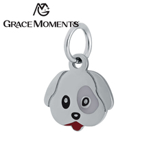 Grace Moments Stainless Steel Charm Dog Tag Women Jewelry Charms 10pcs/lot Never Fade Gold Color Dog Charm Bijoux DIY Hang Tags