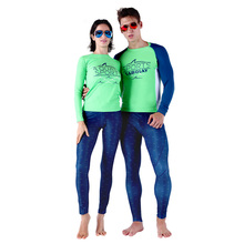 SABOLAY Lovers Lycra Surfing Shirts UV Protection Two Piece Couples Rash Guards Pants Water Sports Diving surfing snorkeling
