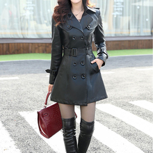 Free shipping Leather Coat Women Top Fashion 2015 Plus Size L-5XL Ladies Faux Synthetic Long Leather Slim Trench Coat Female