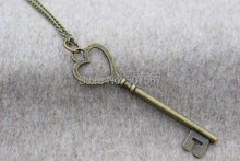 2pcs / lot Sell bronze charm key necklace , gift idea,Personalized Gift,Unique gift(China)