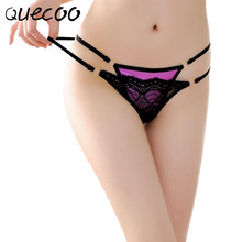 QUECOO Free 3pcs/lots Sexy lady satin lace low waist T pants temptation fine with thong pants women's underwear
