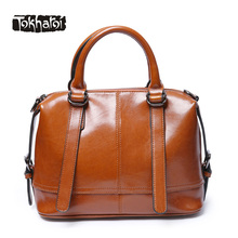 Tokharoi New Women Real Leather Bag Luxury Designer Handbags Female Vintage Large Bag Casual Tote Black and Brown Brand Design(China)