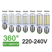 New E27 LED Lamp 220V 240V SMD5730 LED Bulb 360 Degree Lighting 24 36 48 56 69 81 89 LEDs Bombillas LED Corn Light No Flickering(China)