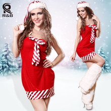 Red Strapless Dress Women Christmas Santa Claus Costume Sexy Fitted Ladies XMAS Cosplay Party Clubwear Outfit Fancy Dress(China)
