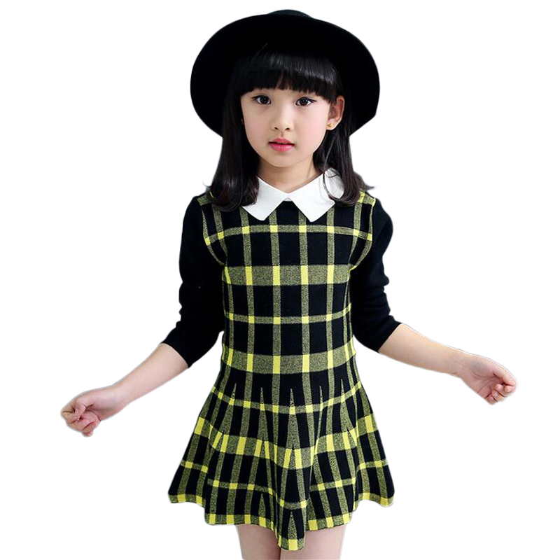 New Fall Disfraces Three Quarter Dresses Sweet Square Collar Clothing For Girls Childrens Fashion Casual Plaid Sweater Dress<br><br>Aliexpress