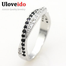 Uloveido Double Lines CZ Diamond Ring For Women White & Black Stones Simulated Gemstone Jewelry Wedding Ring Bague Anillos Y022