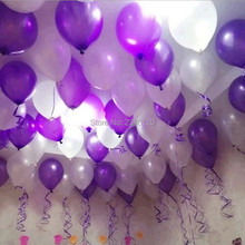 White and Purple pearl balloons 50pcs 12 inch 2.8g helium ballon wedding baby Brithday toy decorations metal ball free shipping